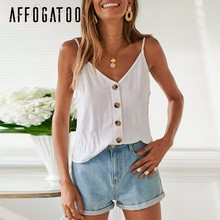 Affogatoo Sexy V neck strap button women white tops camisole Loose summer tank tops Casual Beach holiday streetwear ladies camis(China)