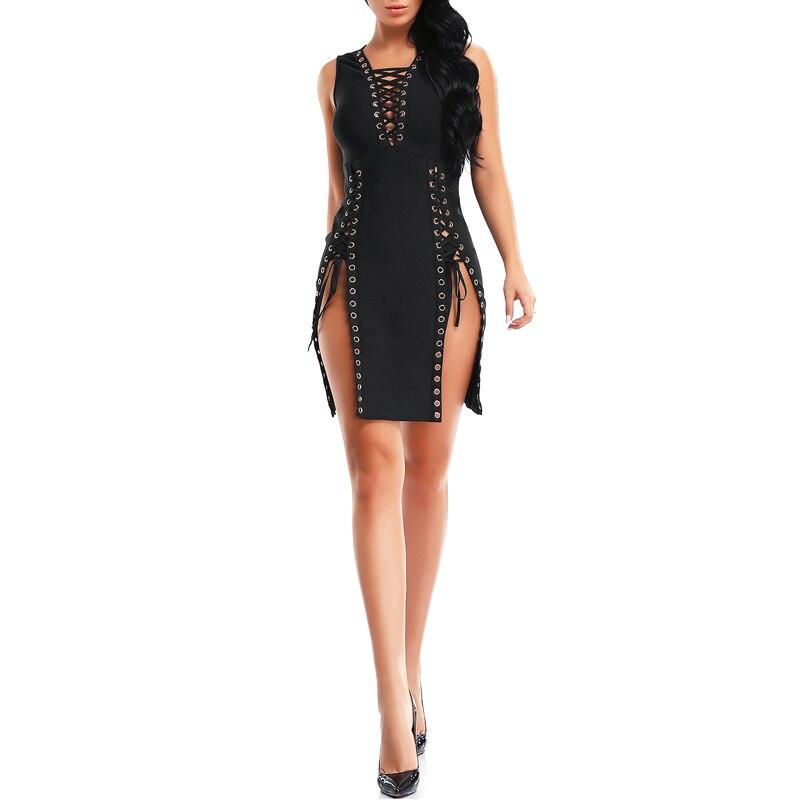 Apricot Nouveauté Genou Femme Longueur D'été black Robes Massif De Club V Robe Profonde Au Bqueen Split Sexy Lady 2017 Bandage Pour Mode 2WDHE9I