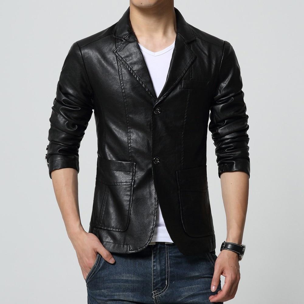 2019 ახალი ჩამოსვლის blazer მამაკაცები PU faux ტყავი თხელი ქურთუკი ბრენდის ტყავის ბლეზერები მამაკაცის slim fit suit suit jacket Outwear Plus Size 6XL 7XL