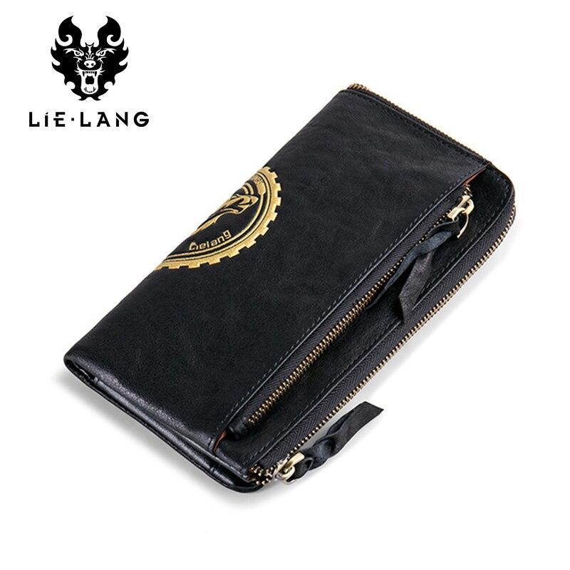 LIELANG Men's 100% Genuine Leather Wallet Clutch Rfid Wallet Male Black Phone Bag Wallets Purse Coin Men Long Clutch недорого