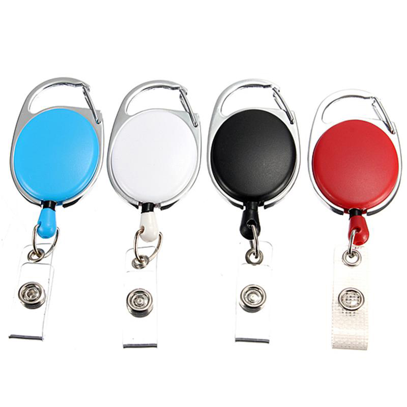 Retractable Pull Keychain Lanyard ID Badge Holder Name Tag Card Recoil Reel Belt Clip Stretchable Key Ring
