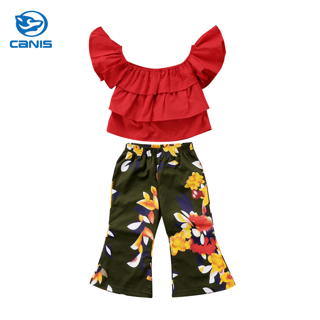 9356464ca0d690 Summer Fashion Toddler Kids Baby Girls Clothes Sets Off shoulder Layered Crop  Tops Floral Bell-Bottom Trouser 2PCS Outfit Set