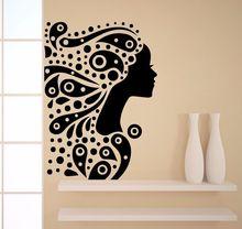 Beauty Hair Spa Wall Decals Make Up Vinyl Stickers Salon Girl l Silhoue Art Bedroom Decoration adesivo NY-381