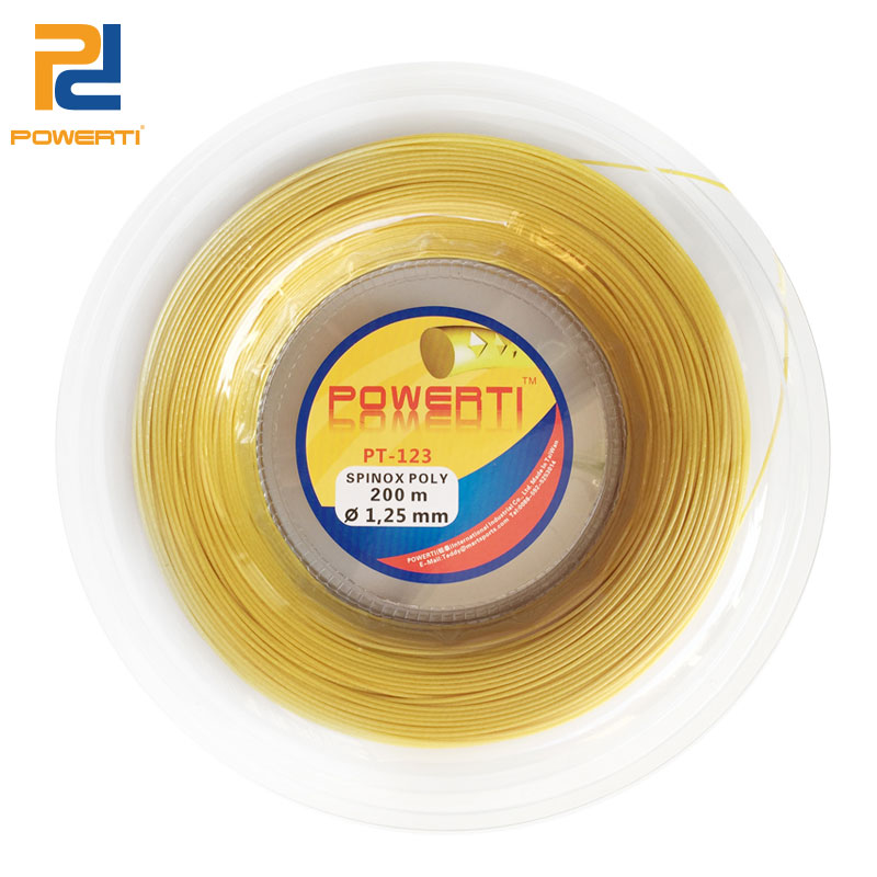 POWERTI 1.25mm Tennis String SPINOX POLY Flexibility Durable Control Training Tennis Racket String 200m One Reel