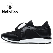 Blaibilton Breathable Mesh Running Shoes Man Brand Genuine Leather Men Sport Shoes Light Weight Summer Men's Sneakers Run Shoes