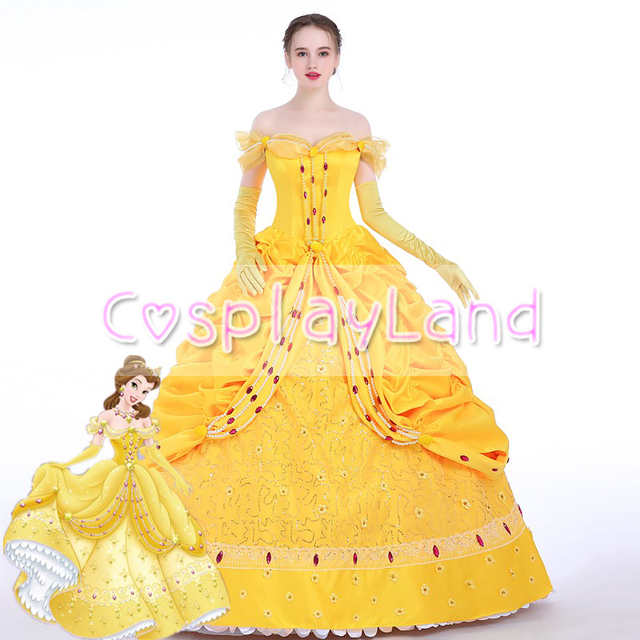 Beauty and the Beast Belle Dress Adult Princess Belle Cosplay Costume Ball Gown  Halloween Party Costumes Belle Custom Made 726b6ba30f5c