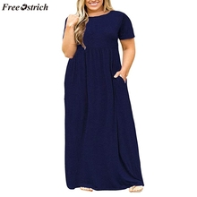 FREE OSTRICH Women trend summer comfortable refreshing large size short-sleeved solid color dress O-neck long dress with pocket