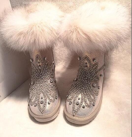 Новейшие шикарные блестящие ботильоны модные плоский каблук женские зимние сапоги дизайнерские женские Дешевые цены Роскошный Crystal White