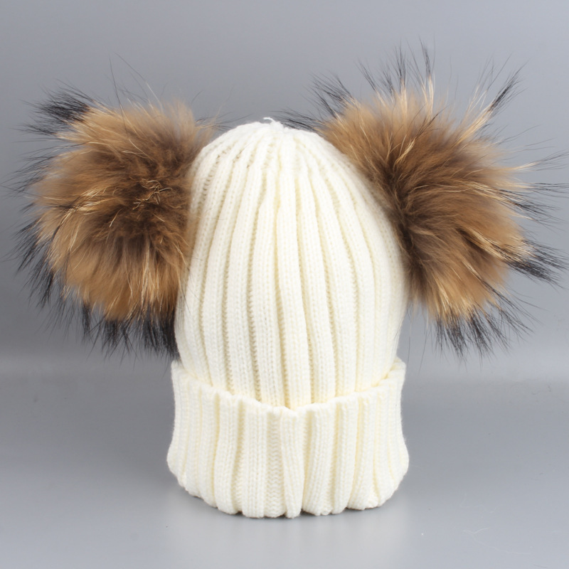 Lady Acrylic Skullies Beanies Hats Raccoon Fur Pom Pom Winter Women Fur Caps Female Headgear Ear Protector VF4000 skullies