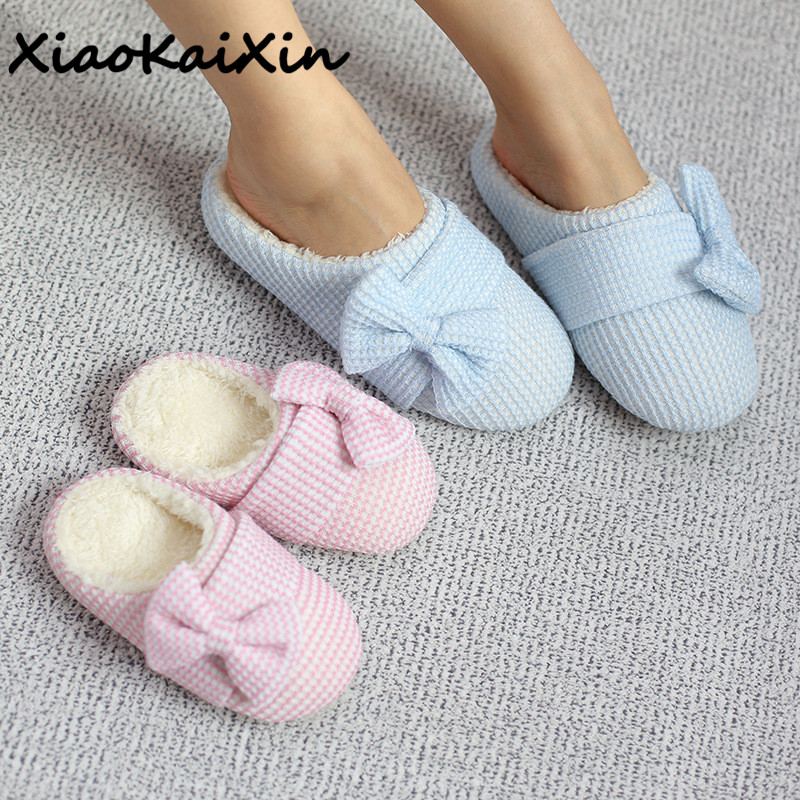 XiaoKaiXin Winter Cute Candy color Female Slippers Women Cotton Gingham Indoor Warm Velvet Home Shoes Woman Bowtie Plush Slipper designer fluffy fur women winter slippers female plush home slides indoor casual shoes chaussure femme