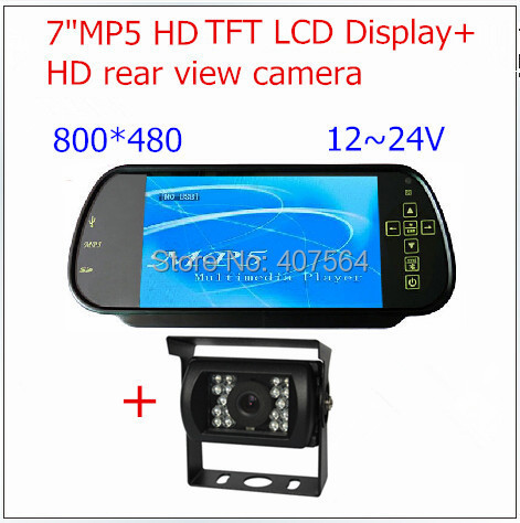 ФОТО  7 Inch HD TFT-LCD SD USB MP5 Player FM Rearview Mirror Car Monitor +HD rear view camera for Bus Trucks