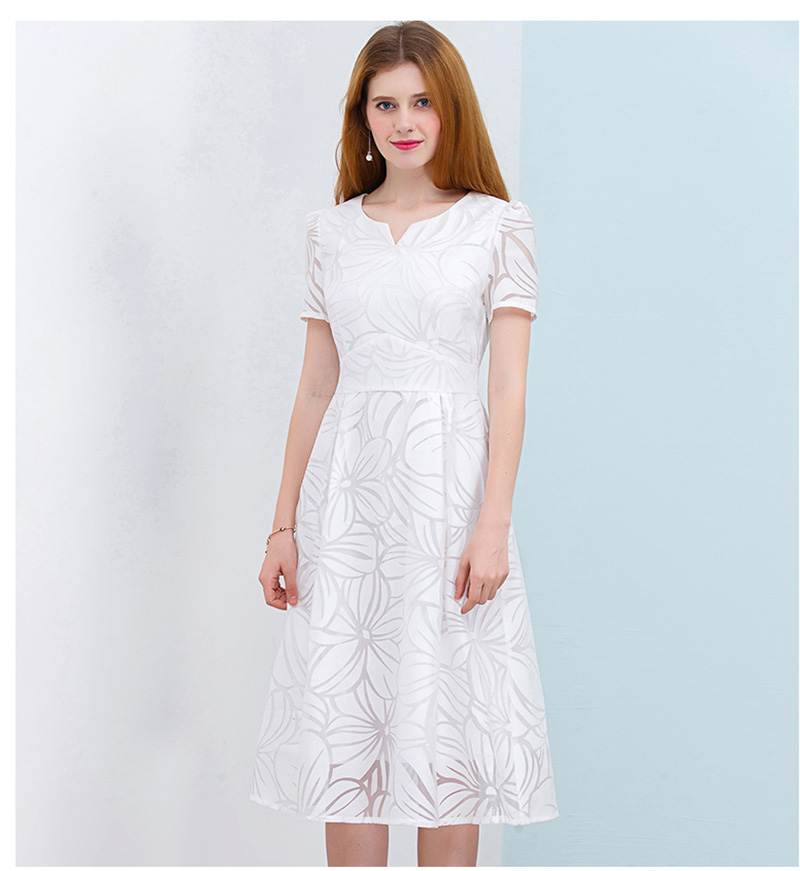 ONLY PLUS S-XXL Women White Dress Short Sleeve A-Line Midi Party Dress Casual Elegant Knee Length Dresses 2018 9