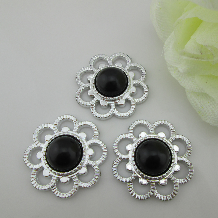 (PB13 35mm)20pcs Black Pearl Rhinestone Buckle Plastic Buttons For Baby Hair Accessory