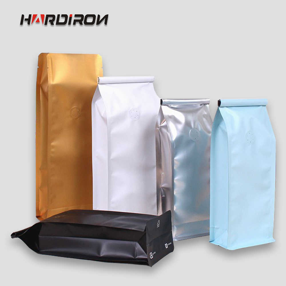 HARDIRON Color Half-pound Aluminum Foil With Breathable Valve Standing Bag Coffee Tea Recloseable Gas Valve Food Pouch