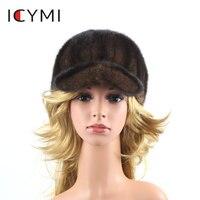 ICYMI Genuine Mink Fur Baseball Cap for Women elegant real fur Hats for lady Winter Warm Winter All match Female Mink Korean Hat