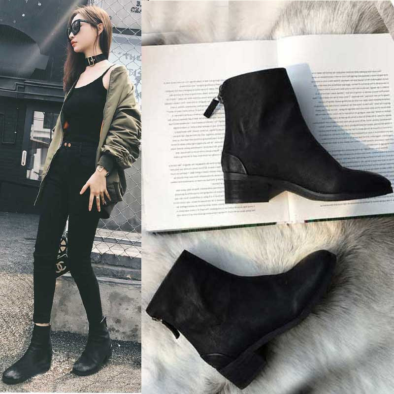 Jookrrix Autumn Winter Fashion Women Chelsea Boots Black Lady Shoe All-match Ankle Boots Female Warm Booties Zipper Low Heel цены онлайн