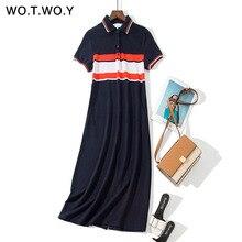 WOTWOY 2019 Summer Striped Print Shirt Dresses Women Polo Collar Split Pocket Navy Dress Long Straight Loose Plus Size Dresses