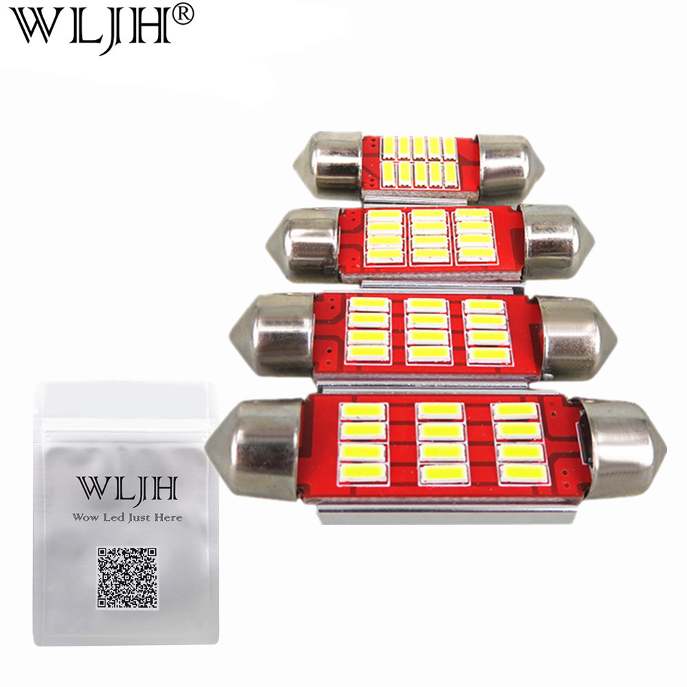 WLJH 2pcs LED Light Bulb C5W 31mm 36mm 39mm 42mm SV8,5 C10W 4014SMD Led Auto Lamp Car Styling Interior External Lights Canbus festoon 31mm 36mm 39mm 42mm led bulb c5w c10w super bright 5050 smd canbus error free auto interior doom lamp car styling light