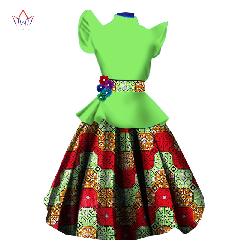 African Dresses For Women Dress Suit Flare Sleeve Tops And Print Skirt Knee Length Skirt Set Women Plus Size Clothing 6XL WY1371