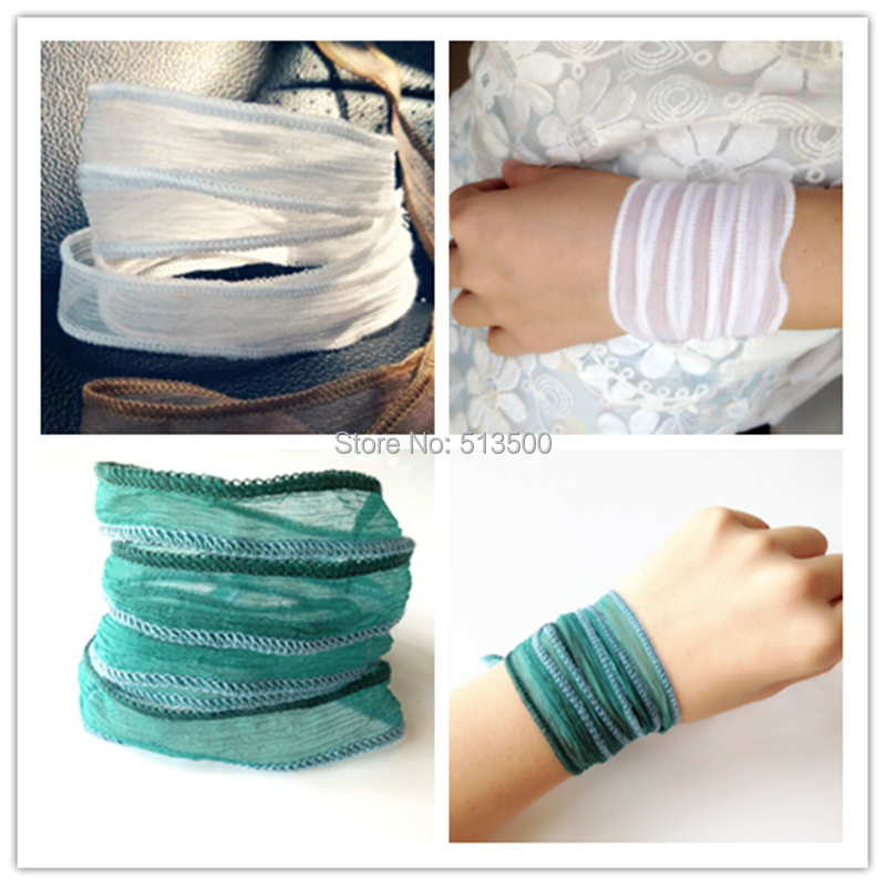 Yoga Jewelry Real Silk Made Bracelet Summer Season Wrap Bracelets 12pcs Lot Mixed Colors Free Shipping High Quality In Charm From