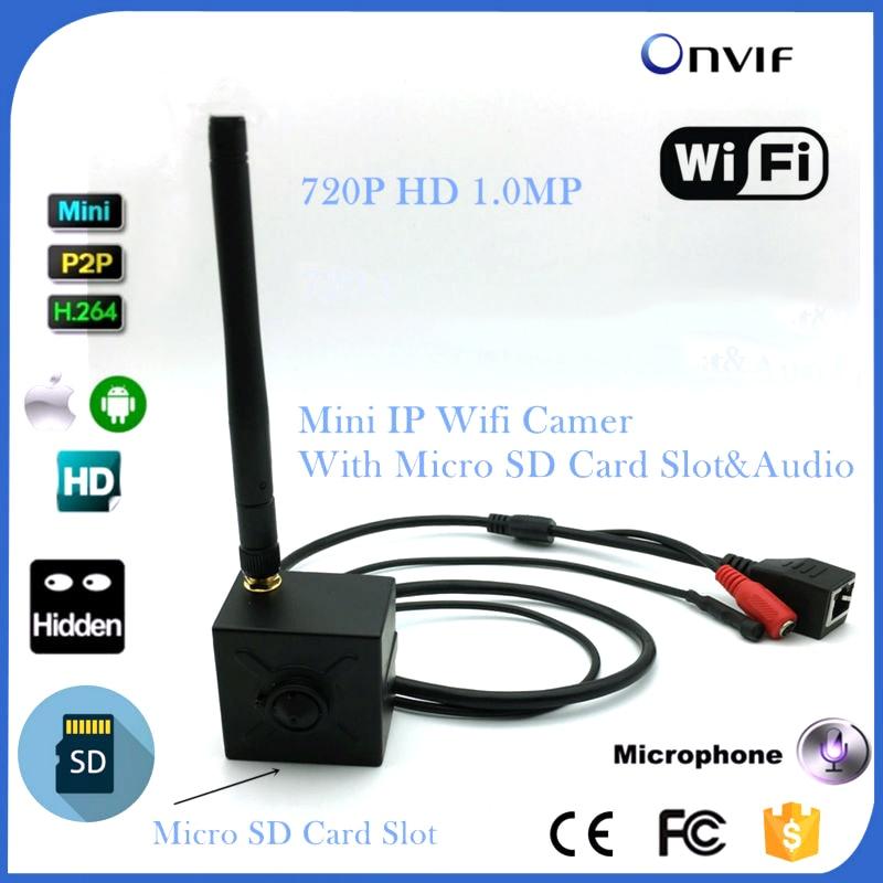 1MP HD Video Surviallance P2P Mini Wireless Wifi Ip Camera With Micro Sd Card Slot 720P HD IP Cam WIFI Onvif 2.0 Microphone free shipping p2p 720p 1mp hd plug
