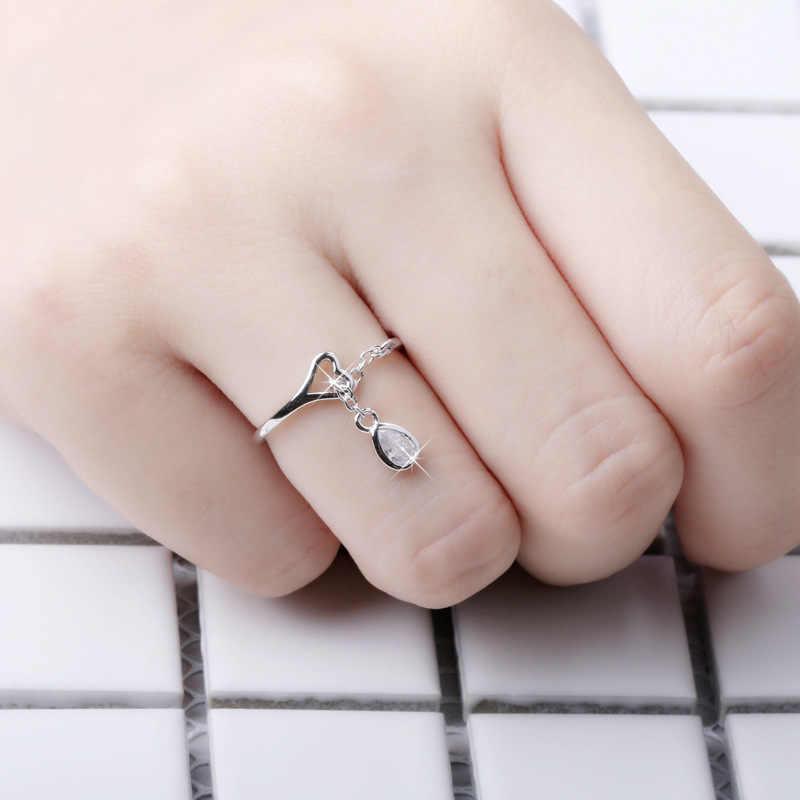 Kualitas tinggi rumbai cinta hati berongga water drop bentuk Perak Mode cincin lucu Wanita/Pecinta Perhiasan Otentik pecinta rings hadiah