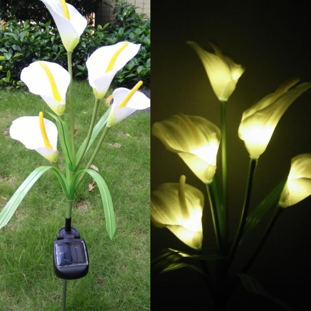 Outdoor Solar Powered LED Horseshoe Flower Light Waterproof 5 LED Lamp for Yard Garden Path Way