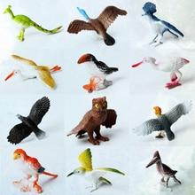 12 Uds. De modelos de animales de plástico simulado para pájaros, juguetes artificiales de varios colores, figuras de pájaros, juguetes educativos para niños pequeños