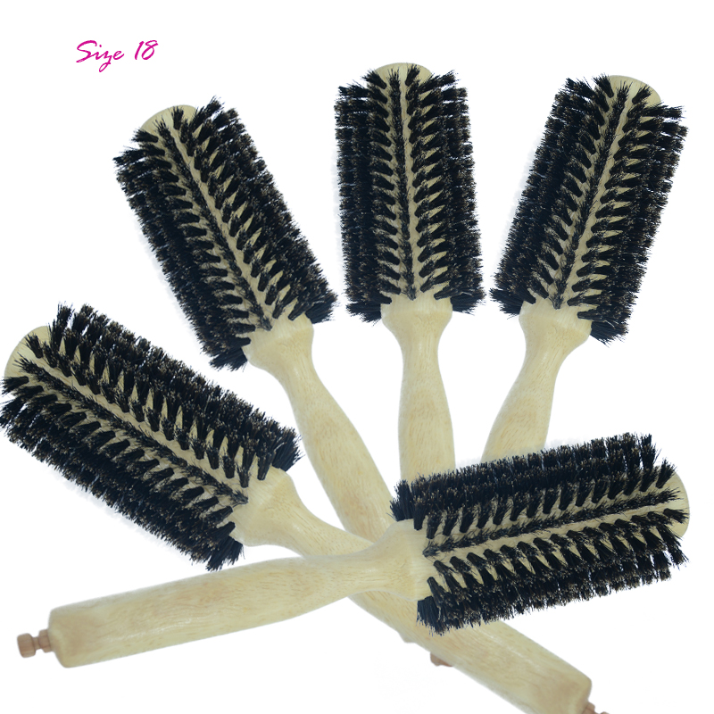 Pig Bristle Natural Wood Handle Cylinder Hair Comb Anti-static Not Hurt Hair Comfort Loose Wavy Style Hairbrush Multiple Choice