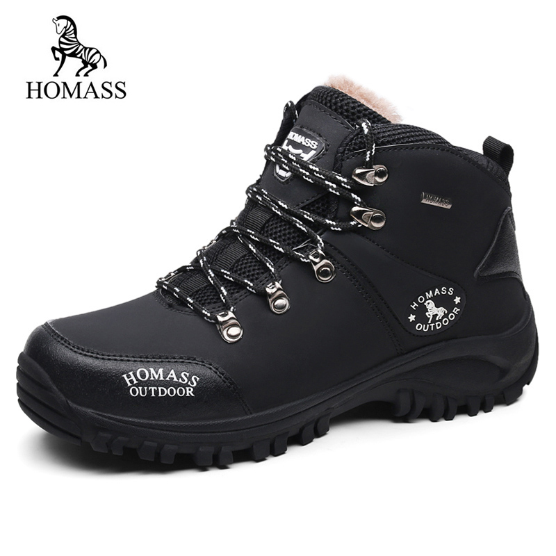 HOMASS Winter Fur Super Warm Snow Boots For Men Sneakers Male Shoes Adult Non Slip Rubber Casual Work Safety Plush Ankle Boots france tigergrip waterproof work safety shoes woman and man soft sole rubber kitchen sea food shop non slip chef shoes cover