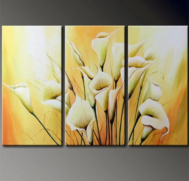 3 Panel Pictures Sets Handmade Floral Paintings Hand painted Lily ...