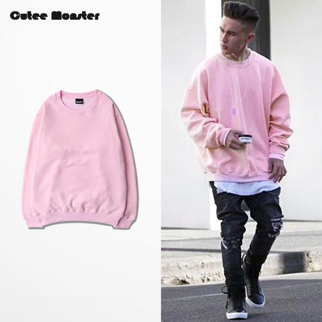Pink Hoodies Men 2016 Autumn Mens Hip Hop Fleece Sweatshirts Tracksuit Street Sportswear Winter Solid Pullover Male Streetwear