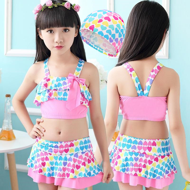Children Swimwear Girls Cute Love Two Pieces Swim Suits Princess Girl Swimsuit Kids Tankini Bathing Suits Beach Skirt Swim Suit