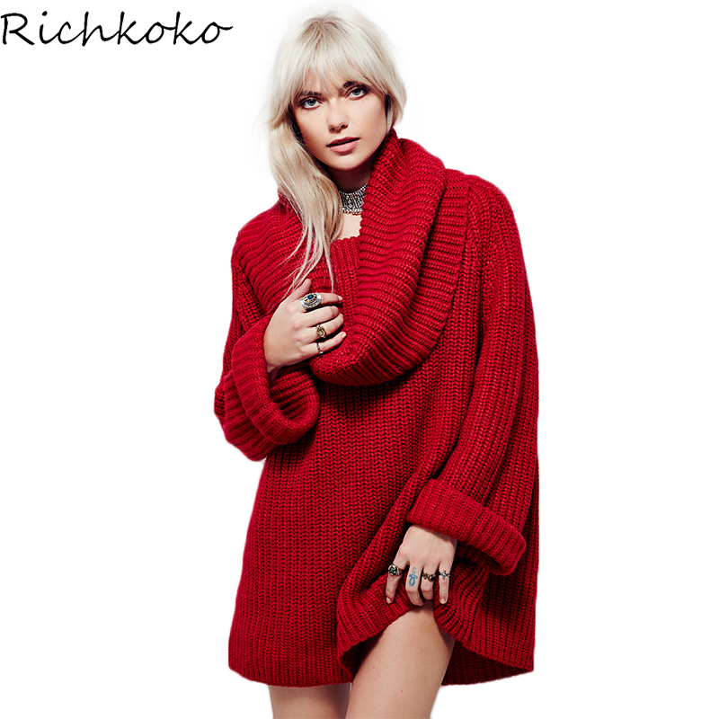 Richkoko Autumn Women Sweater Long Sleeve Loose Elegant Streetwear Pullover Autumn Winter Asymmetrical Knitted Casual Sweater