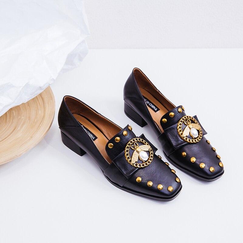 Ape flats fannulloni del cuoio genuino delle donne del progettista di marca catena rivetto tempo libero mocassini punta quadrata comode scarpe più il formato