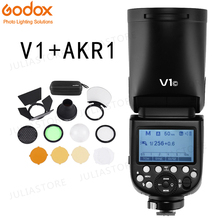 Godox V1 флэш-V1C V1N V1S V1F V1O ttl 1/8000 s HSS Вспышка Speedlite + AK-R1 шаровой рассеиватель наборы для Canon Nikon sony фужи Олимпус