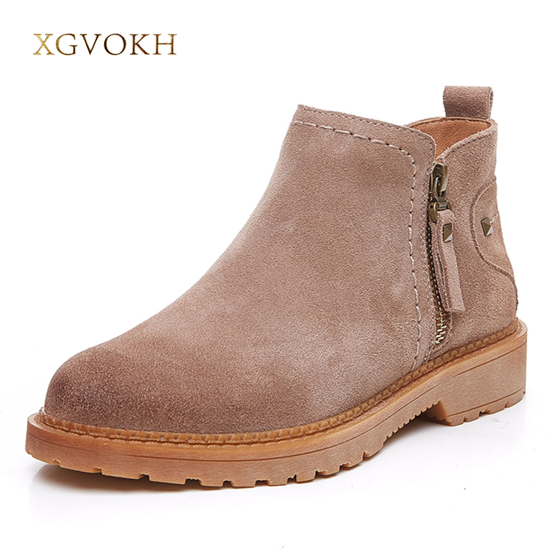 XGVOKH Women Boots Autumn Winter Cow Suede Leather Ankle Boot High Quality zip Fashion Women's Shoes New Short boots yin qi shi man winter outdoor shoes hiking camping trip high top hiking boots cow leather durable female plush warm outdoor boot