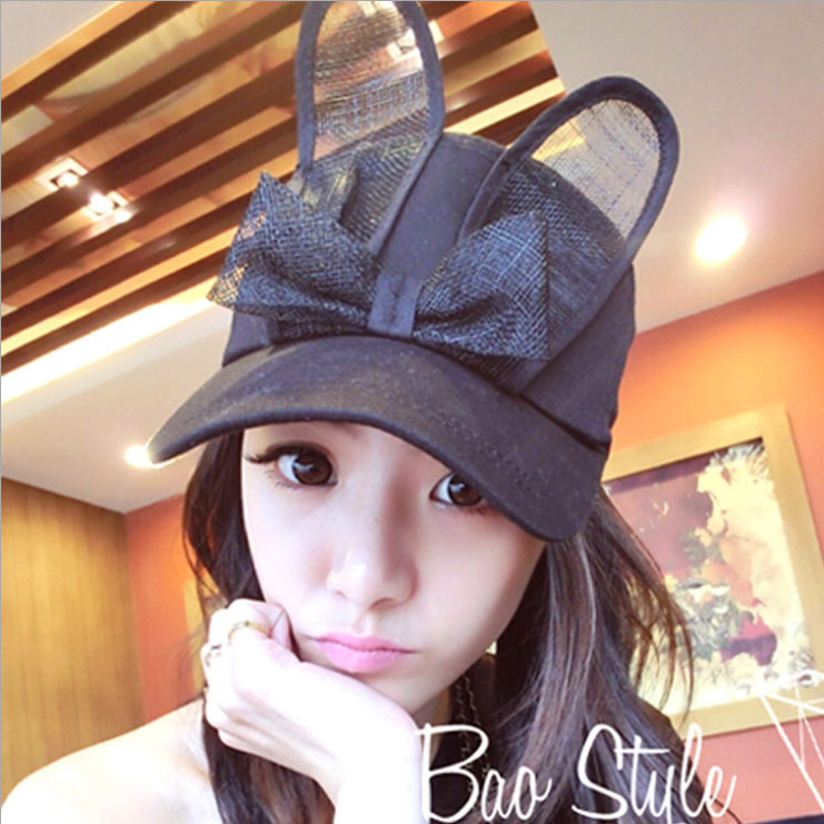 Fashion lovely bow rabbit ears hat Women cute baseball cap Girl black and white wild shade baseball cap 2017 new fashionable cute soft black grey pink beige solid color rabbit ears bow knot turban hat hijab caps women gifts