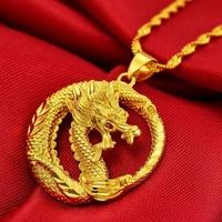 Intelligente Drago Pendente Della Collana Della Catena Donne Solide Men Cool 24 K Oro Giallo Riempito Fresco Di Lusso Lucky Dragon Gioielli
