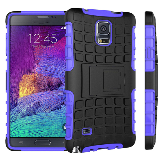 3 in 1 Heavy Duty Stand Armor Case For Samsung Note 4 N9100 N910F SM-N910F Phone Back Cover For Samsung Note4 Red Blue Purple