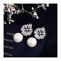 Оптовая 2016 ZA колошения моды жемчуг изящных ювелирных изделий Позолоченный кристалл ААА Циркония & CZ Diamond flower Серьги Стержня для женщины