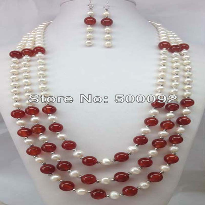 1 set 22 26 inch 3lines freshwater pearlnecklace earring carnelian beads