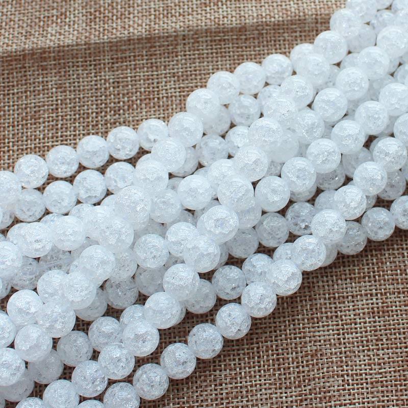 Mini. ordren er $ 7! 4,6,8,10,12,14,16,18,20mm White Crack Quartz - Mode smykker - Foto 5