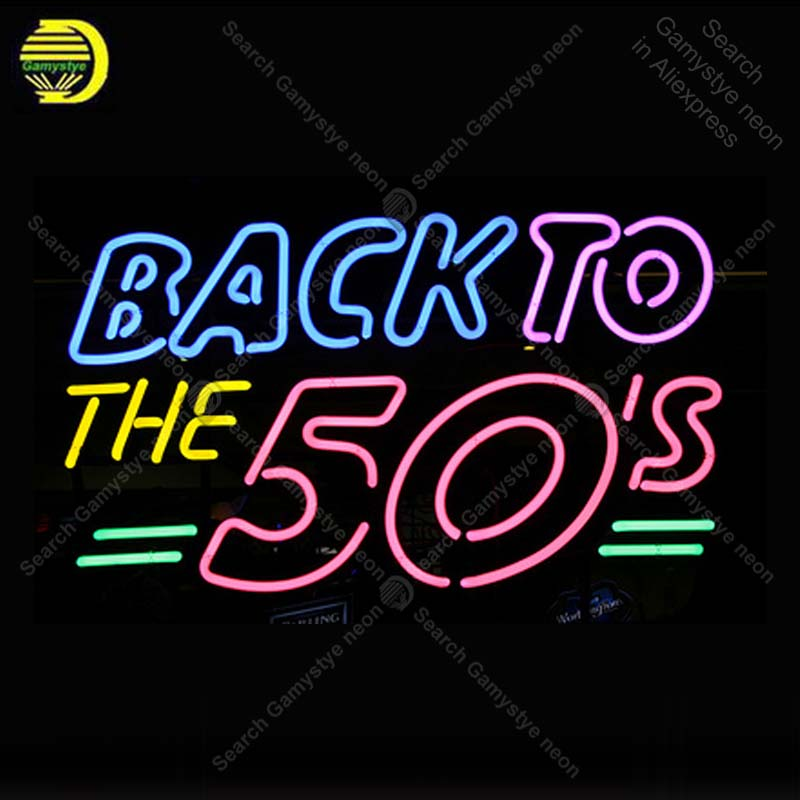 Back To The 50s NEON LIGHT SIGN Neon Sign lamps Decorate wall Windows GLASS Tube BEER PUB Store Display Handcraft Iconic Sign ql2 quelledue джинсовые брюки