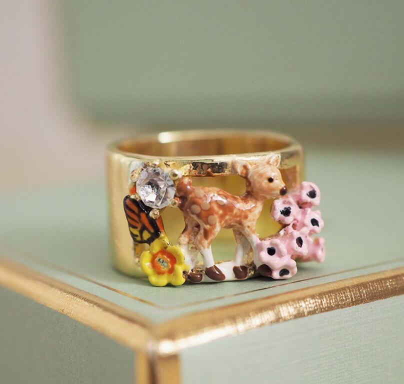 CSxjd 2019 New Enamel Glaze Forest Series Fawn Rabbit Butterfly  Gem Flower Necklace womens jewelry, wedding, party accessoriesJewelry  Sets