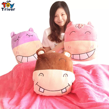 Triver Toy Creative cute pony doll plush hippopotamus cushions children's multifunctional home air conditioning blanket pillow
