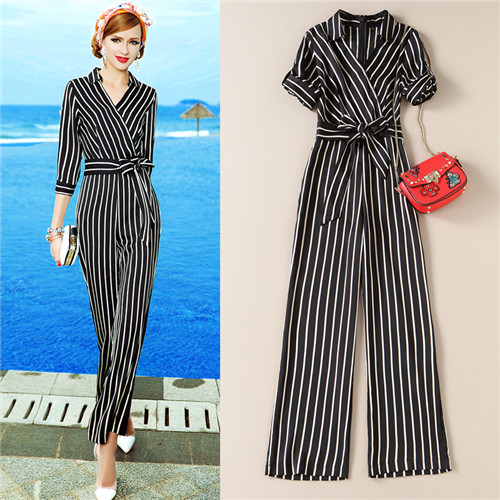Casual Black Stripe Jumpsuit 2017 Spring Summer Turn-Down Collar V-Neck Long Pant Rompers Womens Jumpsuit Office Lady Plus Size