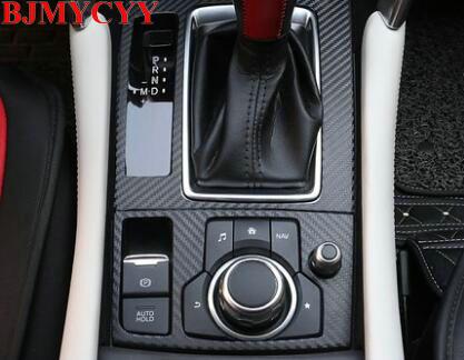 BJMYCYY 2PCS/SET Automobile Gear Panel Carbon Fiber Stickers For Mazda 6 Atenza Mazda 3 Axela CX4 2017