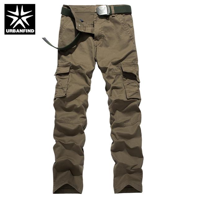 Urbanfind encuadre de cuerpo entero de los hombres pantalones cargo rectas tamaño 29-38 estilo casual hombre pantalones sin cinturón de tela de algodón