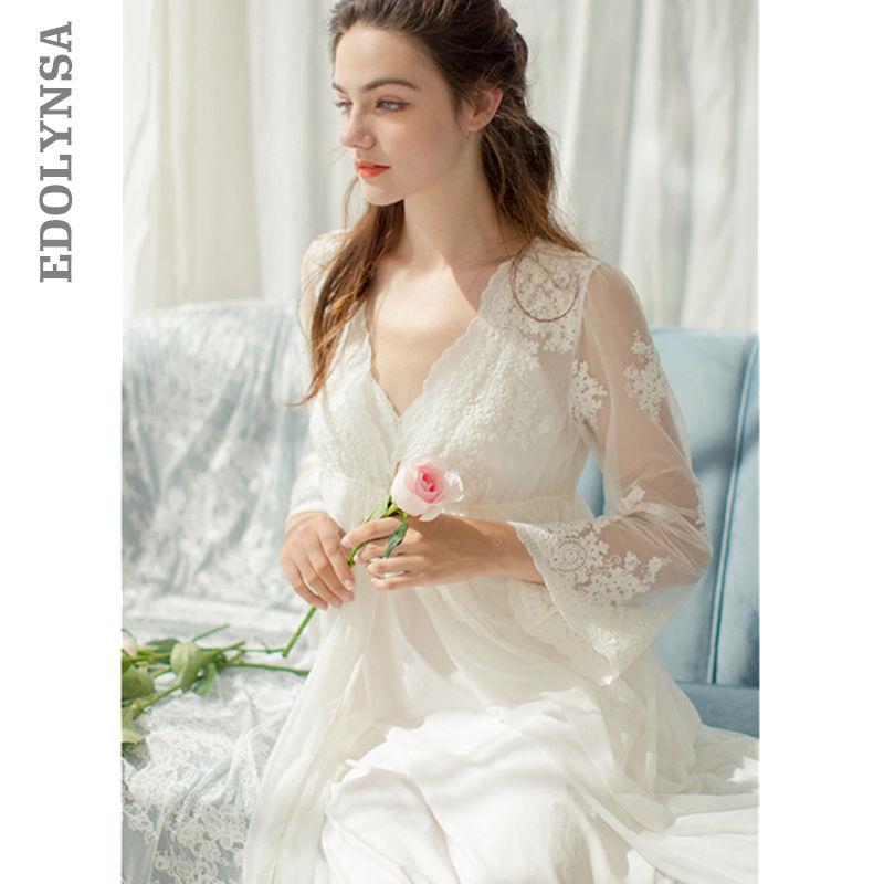 Embroidery Robe Gown Set Autumn Women Sleepwear Set Peignoir Sets Lace Bathrobe Long Sleeve Women Robe